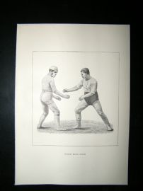 Wrestling 1893 Antique Print. Catch Hold Style